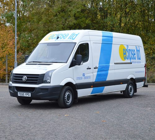 An image showing a stationary white Eclipse Distribution Solutions Ltd van outside used for parcel delivery across Leicester and further afield.