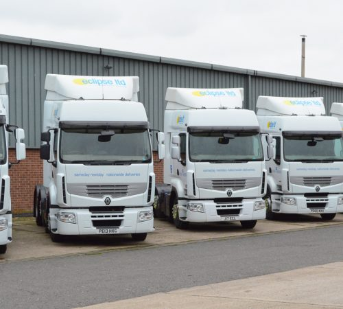 An image showing a fleet of Eclipse Distribution Solutions Ltd haulage delivery lorries.