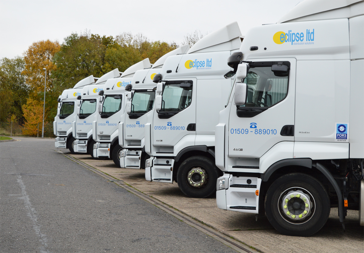 An image showing a fleet of lorries used for national haulage services by Eclipse Distribution Solutions Ltd.