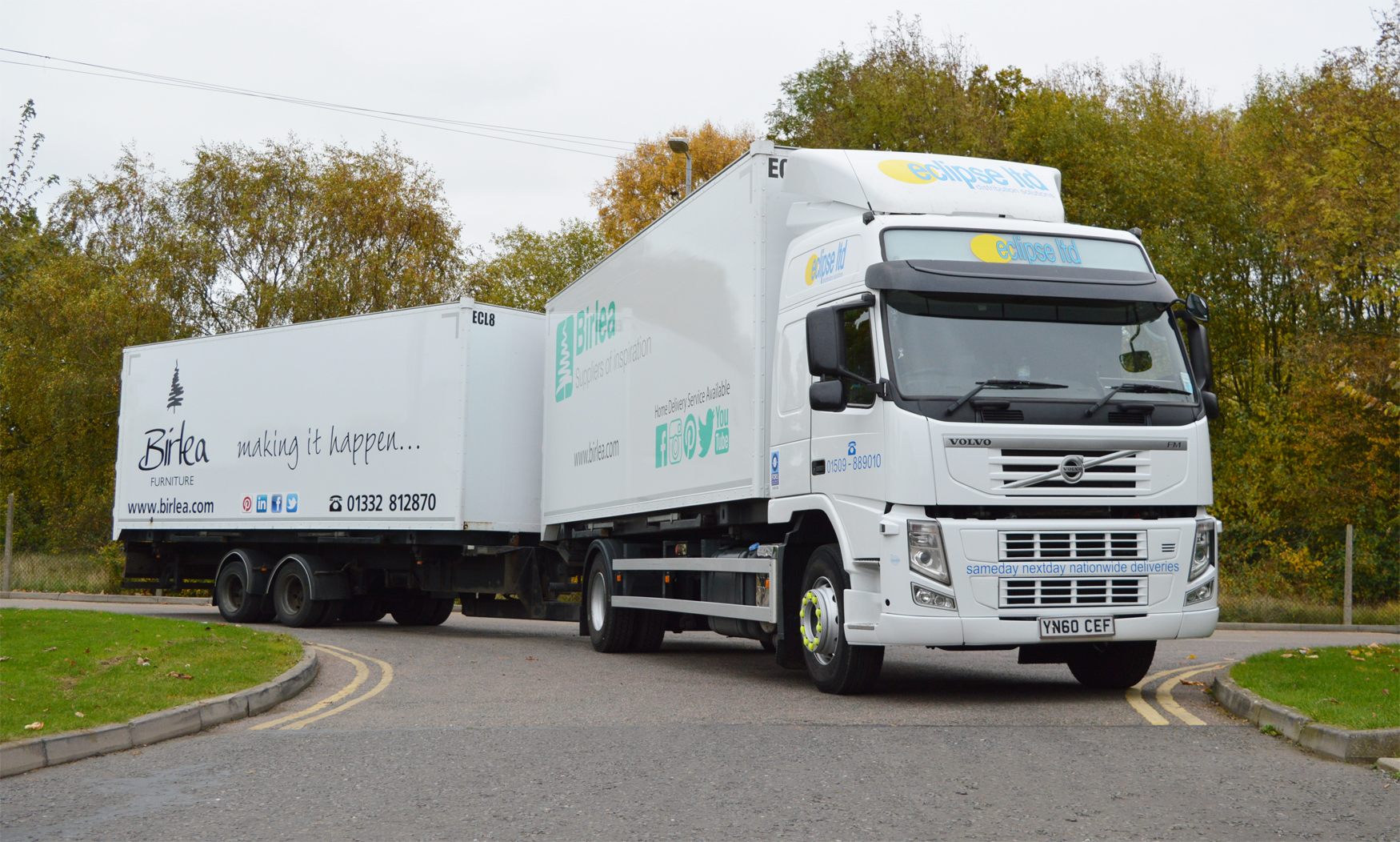 An image showing an Eclipse Distribution Solutions Ltd lorry attached to a Birlea delivery suppliers trailer.