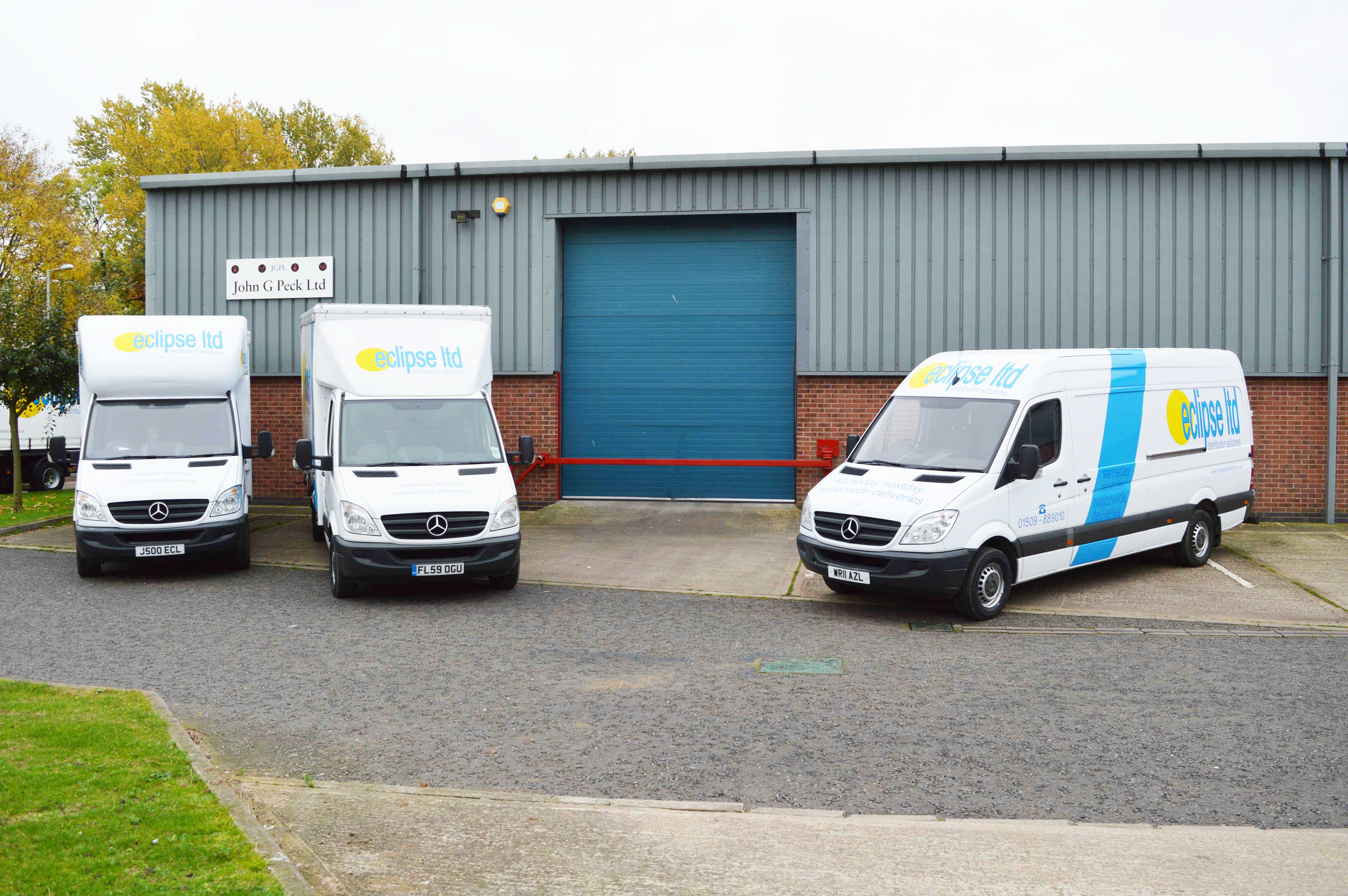 An image showing three Eclipse Distribution Solutions Ltd branded vans.