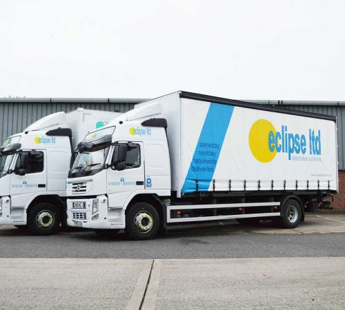 An image of two Volvo, Eclipse Distribution Solutions Ltd lorries.