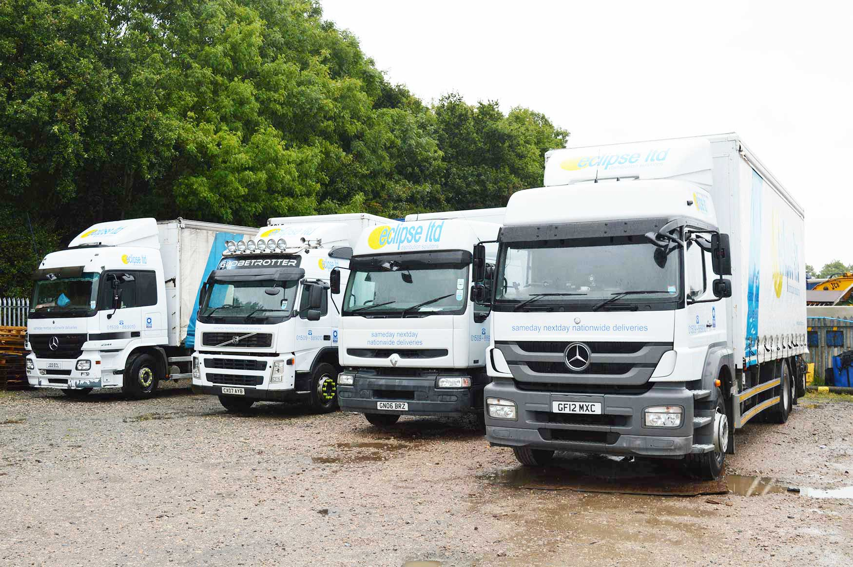 An image of four Eclipse Distribution Solutions Ltd delivery lorries that deliver parcels nationwide.